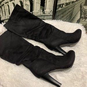 ShoeDazzle knee high suede heel boots